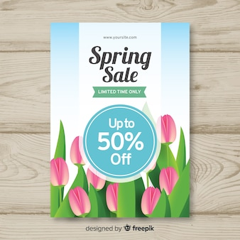 Realistic tulip spring sale poster