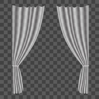 Realistic tulle curtains on transparent background drapes for decoration window home interior. vector illustration