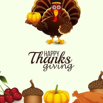 Realistic turkey bird of happy thanksgiving day background