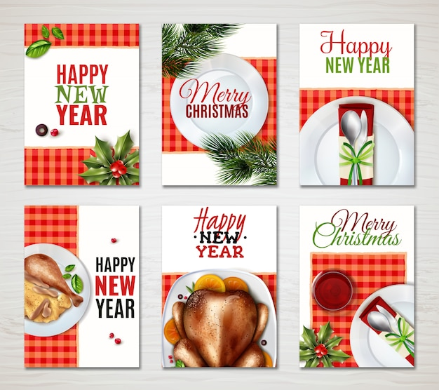 Realistic turkey christmas banner set