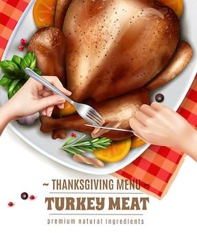 Realistic turkey illustration