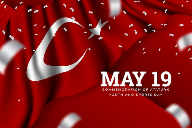 Realistic turkish commemoration of ataturk, youth and sports day illustration