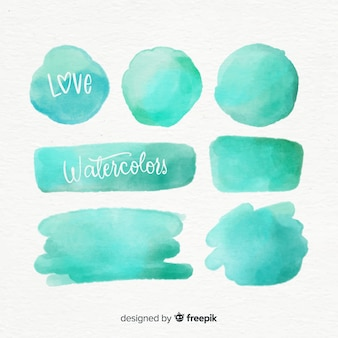 Realistic turquoise watercolor stain collection