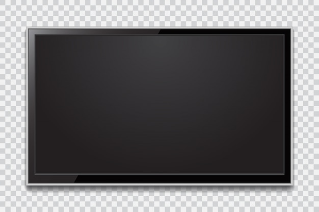 Realistic tv screen. modern stylish lcd panel, led type. large computer monitor display mockup