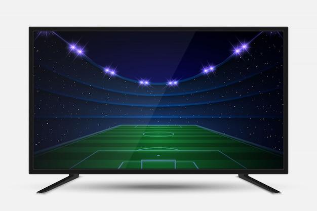 Реалистичный экран телевизора. современная телевизионная жк-панель с футбольным матчем