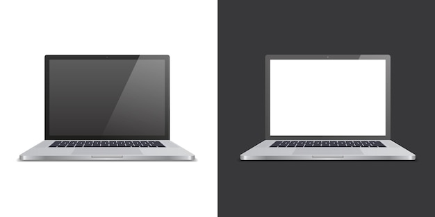 Realistic two laptop on black and white background. for use in mockups and presentations. vector illustration.