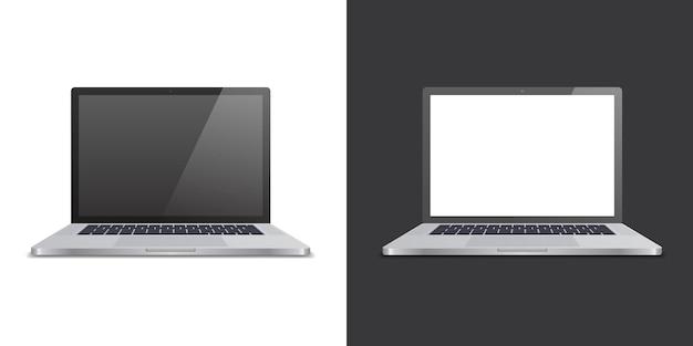 黒と白の背景にリアルな2つのラップトップ。モックアップやプレゼンテーションで使用します。ベクトルイラスト。
