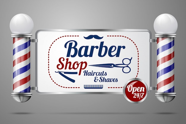 Realistic - two old fashioned vintage silver and glass barber shop poles holding barber sign.