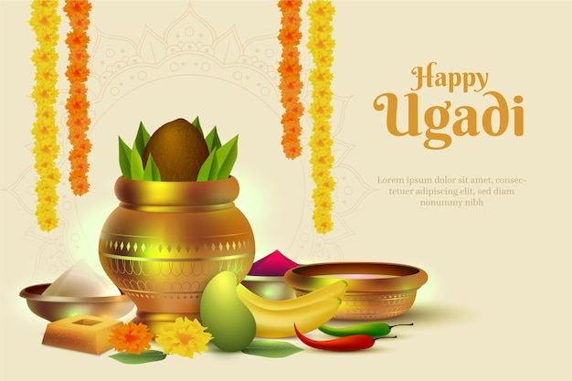 Realistic ugadi banner with fruits and offerings