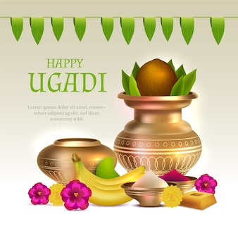 Realistic ugadi banner with fruits