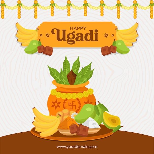 Realistic ugadi celebration banner