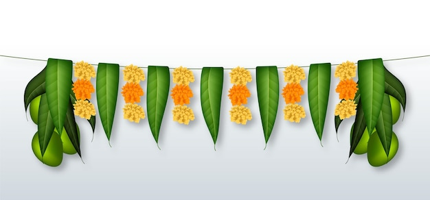 Realistic ugadi garland illustration