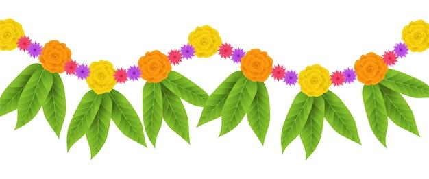 Realistic ugadi garland illustration
