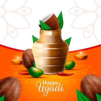 Realistic ugadi vase with coconut and candles