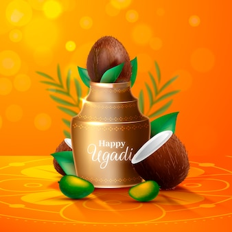 Realistic ugadi vase with halves of coconut