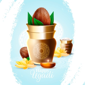 Realistic ugadi vase with lotus flowers and candles