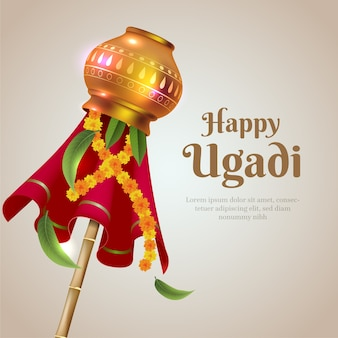 Realistic ugadi with traditional decoration