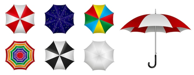 Realistic umbrella in various type and color isolated