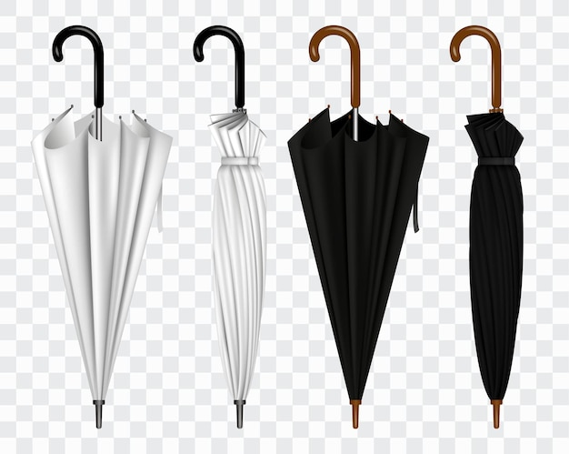 Realistic umbrella in various type or mock up black and white umbrella closeup