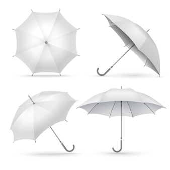 Realistic umbrella. white rain or sun open umbrellas.