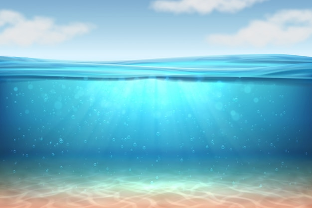 Realistic underwater background. ocean deep water, sea under water level, sun rays blue wave horizon.