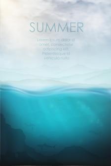 Реалистичный подводный вектор с акулой, водолазом и морем