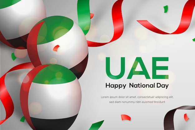 Realistic united arab emirates national day Free Vector