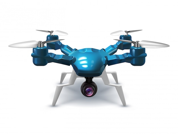 Realistic unmanned drone with recording camera. copter with remote control 3d vector illustration