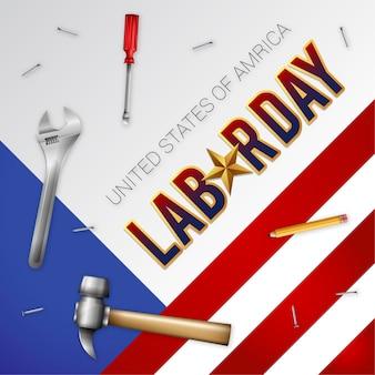 Realistic us labor day illustration