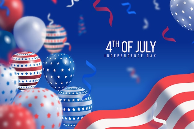 Realistic usa independence day concept