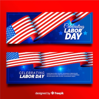 Realistic usa labor day banners