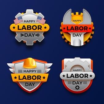 Collezione di etichette realistiche per la festa del lavoro degli stati uniti