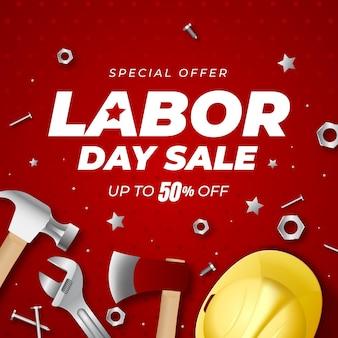 Illustrazione realistica di vendita della festa del lavoro degli stati uniti