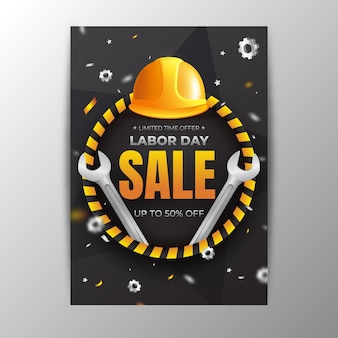 Realistic usa labor day vertical sale poster template