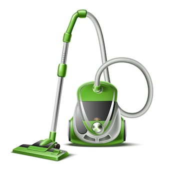 Realistic vacuum cleaner with hose and nozzle 3d icon
