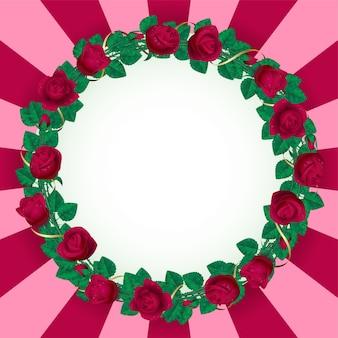 빨간 장미와 현실적인 발렌타인 배너