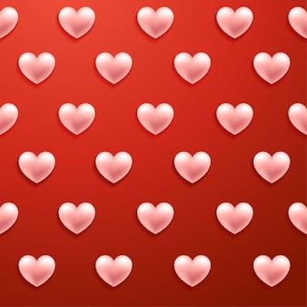 リアルなバレンタインハートのシームレスなパターン