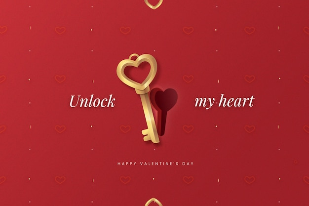 Realistic valentine's day background with key