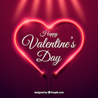 Realistic valentine's day background with neon light