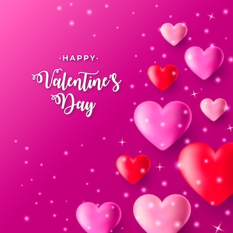 Realistic valentine's day background with pink and redhearts