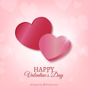 Реалистичный день дня святого валентина с двумя сердцами