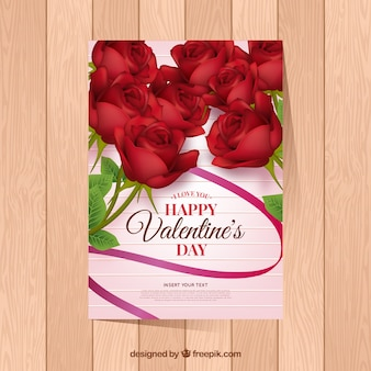 Realistic valentine's day card template