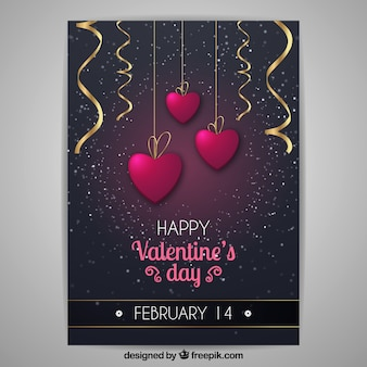 Realistic valentine's day flyer/poster template