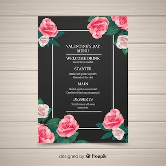 Realistic valentine's day menu template