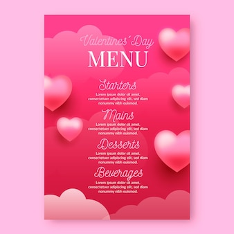 Realistic valentine's day menu template