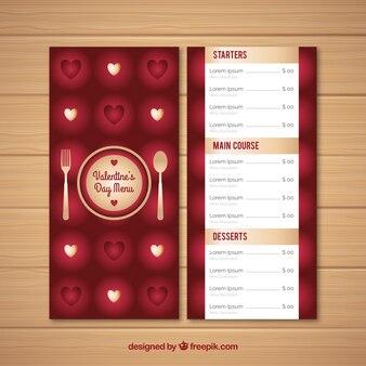 Realistic valentine's day menu