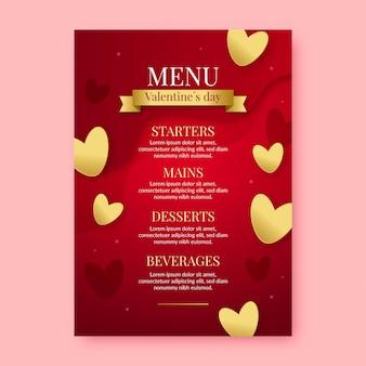 Menu realistico di san valentino