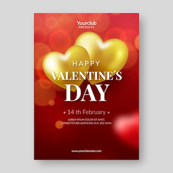 Realistic valentine's day party flyer template