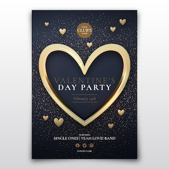 Realistic valentine's day party poster template