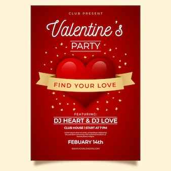 Realistic valentine's day party poster